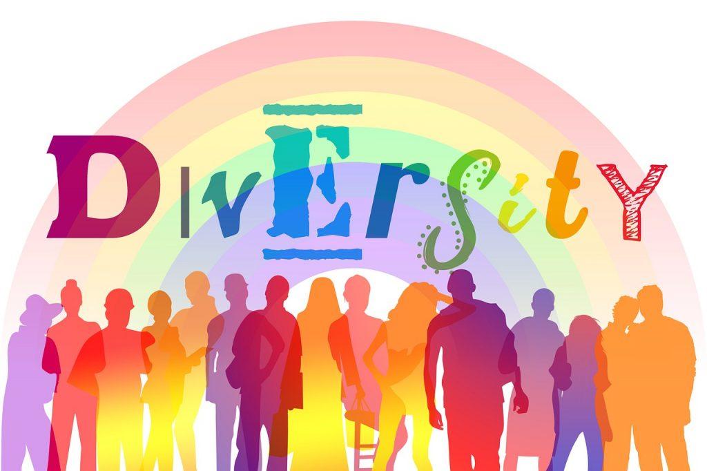 diversity, silhouettes, rainbow